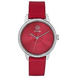 Uhr Rosé Damen rwro05Quarz (Batterie) Stahl Quandrante rot Armband Leder
