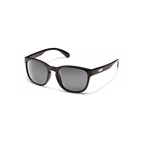 Suncloud S-LOPPGYBK Frauen Schwarzes Feld Graue Linse Wayfarer Polarisierte Sonnenbrille