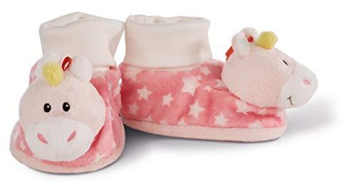 Nici 43655 Baby Booties Unicorn with Rattle, 13 x 7.5 x 7 cm Babyschuhe Einhorn Stupsi mit Rassel, rosa Bio-booties
