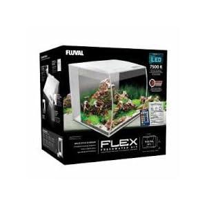 Fluval Flex Curved Glass LED Nano Aquarium Fish Tank 57L – White