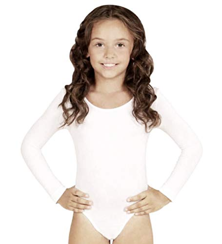 Furein Maillot de Danza Ballet Gimnasia Leotardo Body Clásico Elástico para Niña de Manga Larga Cuello Redondo (10 años, Blanco)