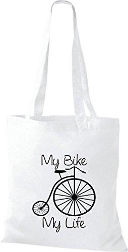 Pochette en tissu My Bike My Life Vélo BMX Kultpiercing Sac en coton, Sac Plusieurs couleurs Blanc - Blanc