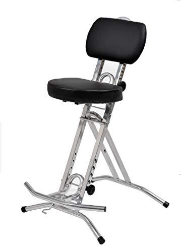 LIBEDOR Stehhilfe Stehhocker Stehsitz Sitz Stehstütze Silber Schwarz mit ergonomischer 6 cm Sitz...