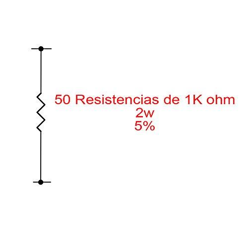 Fologar 50X Resistencias de carbón 1K 1000 Ohm 2W 5%