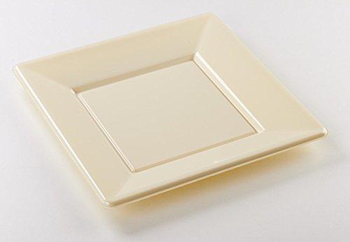 8 assiettes carrées plastique ivoire 23x23 cm