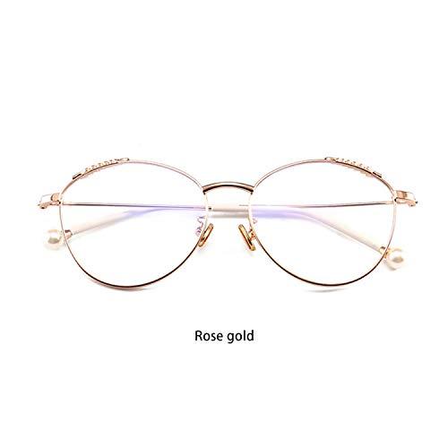 ROWERR Laue Light Blocking Glasses Mode Round Lightweight Anti Digital Eye Strain Headache Computer Eyewear Metal Frame für Women/Men (Transparent Lens),Rosegold