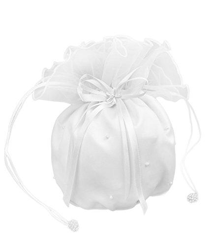 Flora Satin & Organza Hochzeits Dolly Tasche / Handtasche Brautjungfer, Perlen (weiß)