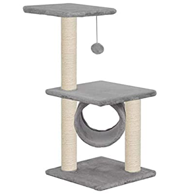 Festnight Cat Tree Cat Tower Scratcher Activity Centre with Sisal Scratching Posts - Grey, 30x30x65 cm from Festnight