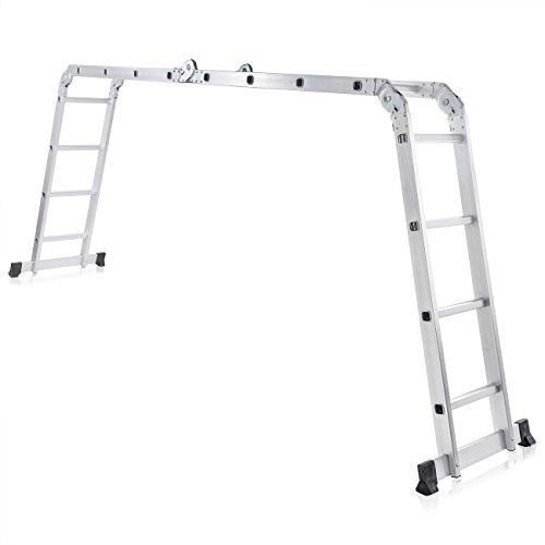 MAXCRAFT Multifunktionsleiter Mehrzweckleiter bis 150 kg Stehleiter 16 Stufen 6in1 Leiter Gelenkleiter Klappleiter aus Aluminium EN-131 geprüft - Länge 4,43m 2019