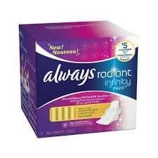 Always Serviettes hygiéniques normales Radiant Infinity - Avec ailes - Parfum frais et léger - 16/paquet (12 paquets)