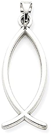 IceCarats 14k White Gold Ichthus Fish Necklace Pendant Charm