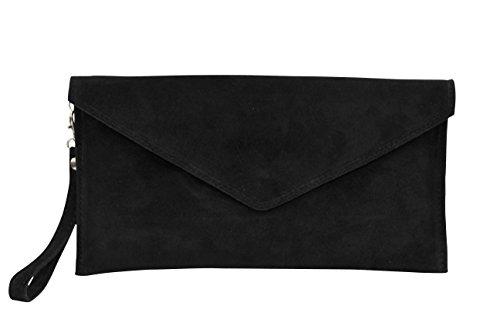 AMBRA Moda Damen Wildleder Envelope Clutch Handschlaufe Handtasche Schultertasche Unterarmtasche Damentasche Veloursleder WL801 Schwarz