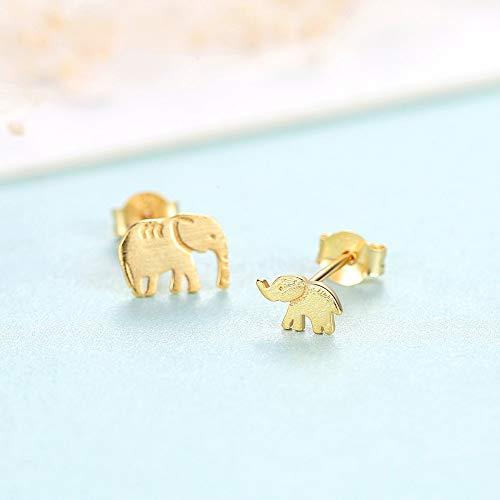 AOTEX Stud Pendientes Plata esterlina Accesorios para Mujeres Animales Elefantes Asimetría Diseño...
