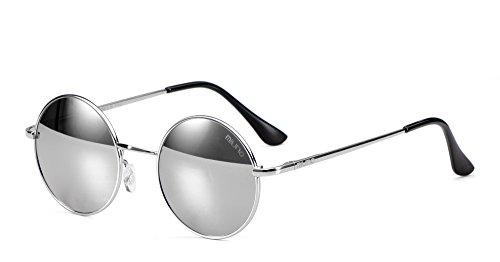 Miuno® Sonnenbrille mit runden Gläsern UV400 Herren Damen mit Etui Nickelbrille Federscharnier 8088 (Gestell:Silber/Glässer:silberverspiegelt)