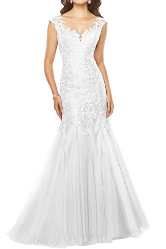 Promgirl House Damen 2017 Hochwertig Spitze Mermaid Abendkleider Ballkleider Hochzeitskleider Lang Weiß