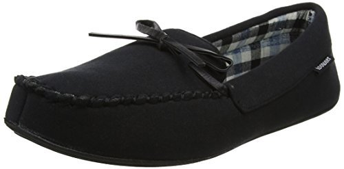 Isotoner Mens Jersey Moccasin Slipper, Chaussons Bas Homme, Noir