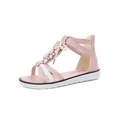 LvYuan Sandalen-Outddor Kleid Lässig-Kunstleder-Flacher Absatz-Creepers Komfort Gladiator-Blau Rosa Beige Pink