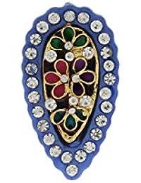 Anuradha Art Blue Colour Drop Shape Stylish Brooch & Sari Pin For Women/Girls
