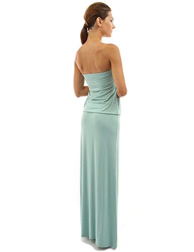 PattyBoutik Femmes La maxi robe bustier fluide avec plissée sans manches vert lucite