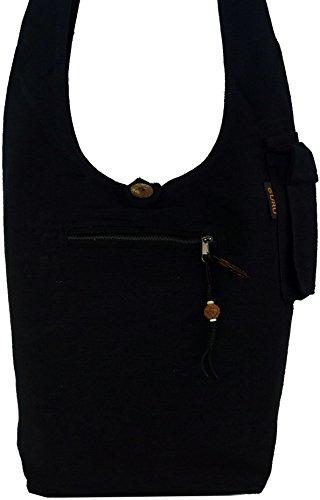 Guru-Shop Sadhu Bag, Goa Tasche, Schulterbeutel - Grün, Herren/Damen, Baumwolle, 40x35x25 cm, Bunter Stoffbeutel Schwarz