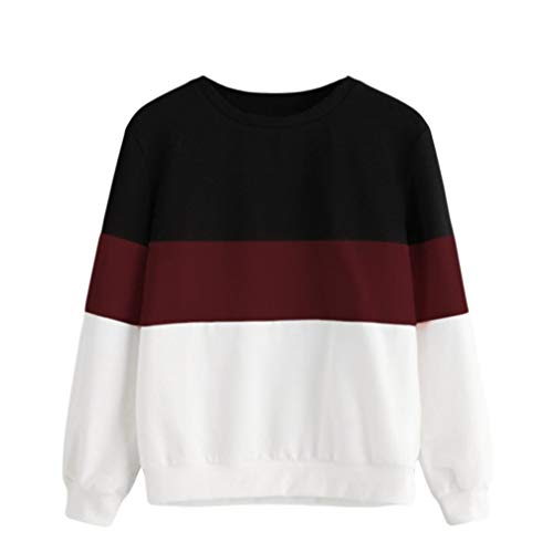 TWIFER Langarm Cut Sew Pullover Streifen Shirt Hoodie Print Sweatshirt Damen Herbst Sweater (Fleece-stoff Motocross)