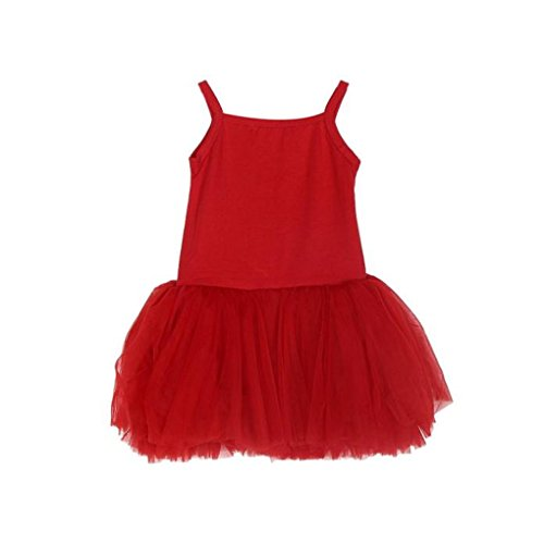 JYJMMädchen Sling Weste Kleid Kinder Strampler Ballett Kleid TUTU Kuchen Schleier Kleid Ballett Rock Kostüm Rock dress for baby girl1-5 Jahr (110, Rot)