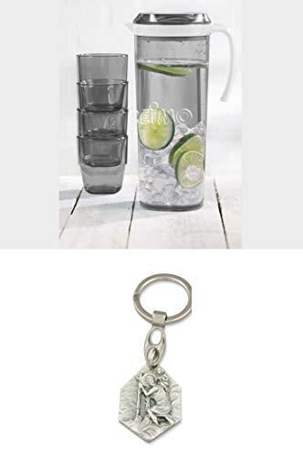 Preisvergleich Produktbild Camp4 Kunststoff-Gläser und Krug mit Schraubdeckel,  SAN (9329889290972) mit Anhänger Herz Jesu 2, 5cm