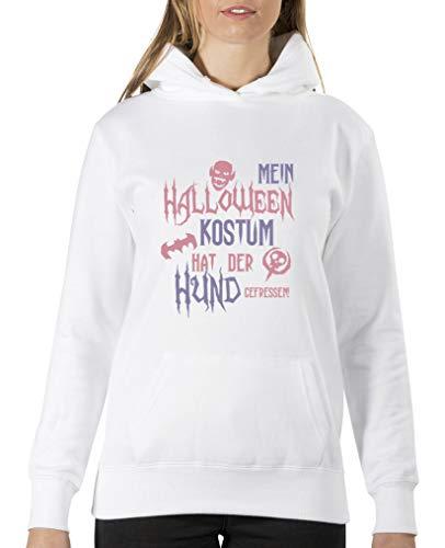 Comedy Shirts - Mein Halloween Kostuem hat der Hund gefressen - Damen Hoodie - Weiss/Rosa-Violett Gr. ()