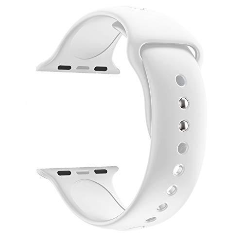 Vamoro Ersatz-Sport-Silikon-Uhrenarmband Armband, Alta Armband Weiches Verstellbares Sport Ersatzarmband Fitness Zubehörteil für Apple Watch Series 4 44MM(Weiß)
