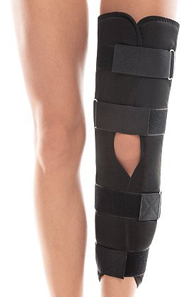TOROS-GROUP Attelle de genou -genouillère ajustable à trois panneaux pour immobilisation et soutien avant et après opération - Hauteur de jambe de 40 CM/Noir