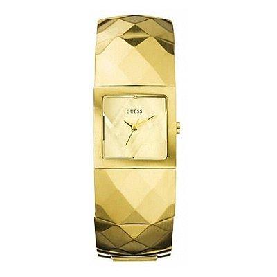GUESS PYRAMID GOLD W15529L1 - Reloj analógico de cuarzo para mujer, correa de acero inoxidable color dorado