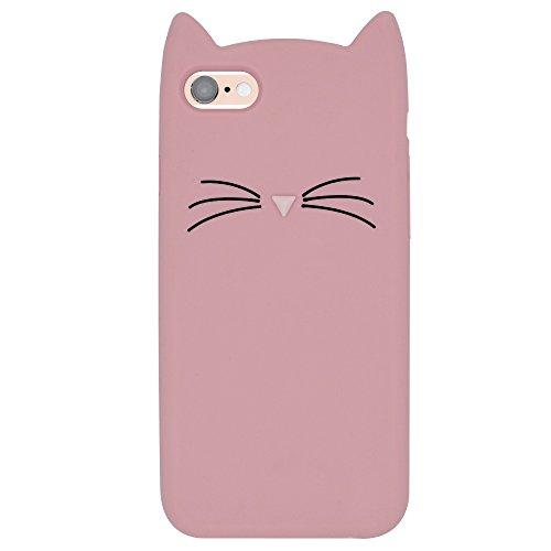 Hcheg Case Cover 3D en silicone pour iPhone 6/6S Panda Design noir / Blanc Case Cover + 1X Nano-proof film de protection écran cat-pink