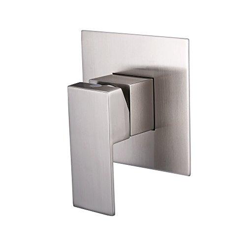 KES Messing Dusche Wasserhahn Körper Ventil und Edelstahl massiv Steel Trim quadratisch verdeckter Ersatz für Badezimmer Duschen System 1/2Zoll IPS, l6711-p - Nickel Powder Room