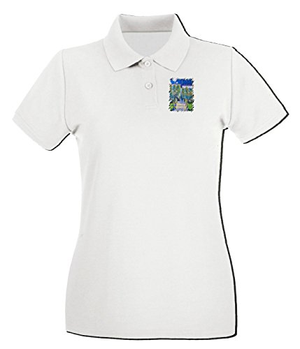 Cotton Island - Polo pour femme TDA0026 monet131 il giardino e la casa di monet a vetheuil Blanc