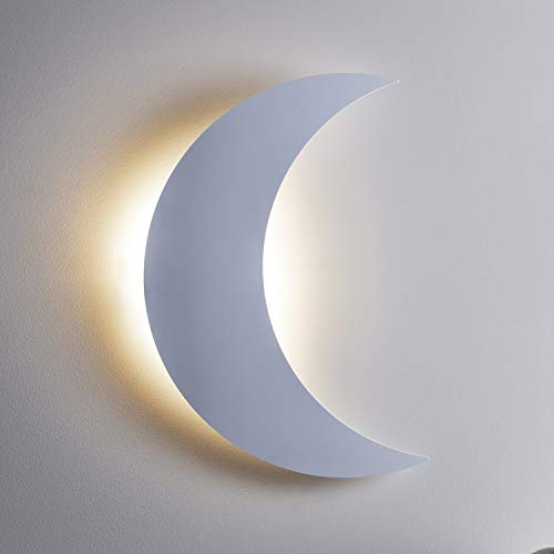 Lights4fun Aplique de Pared a Pilas en Forma de Luna Blanca Retro iluminada por LED Blanco Cálido