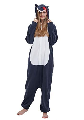 Karton Kigurumi Fasching Halloween Kostüm Lounge Sleepsuit Cosplay Overall Pyjama Schlafanzug Erwachsene Unisex Grau Wolf for Höhe 140-187CM ()