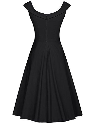 MUXXN Damen 1950er Boot-Ausschnitt Muster Hanhnentritt Party Swing Kleid Black