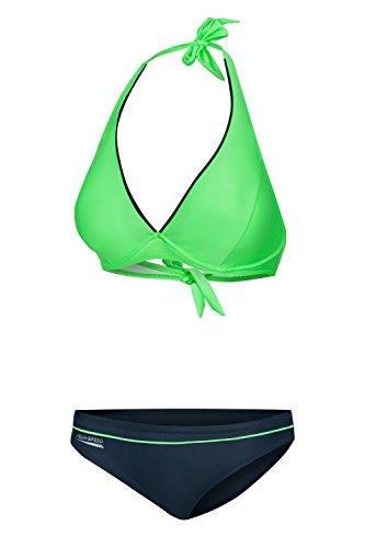 38c Farbe (Aqua Speed® Palm Beach Bikini (38 C,D // 40 C,D // 42 D,E Zweiteiler Leuchtende Farben + UP® Schlüsselband), Farbe:Grün - Grau;Größe:38C)