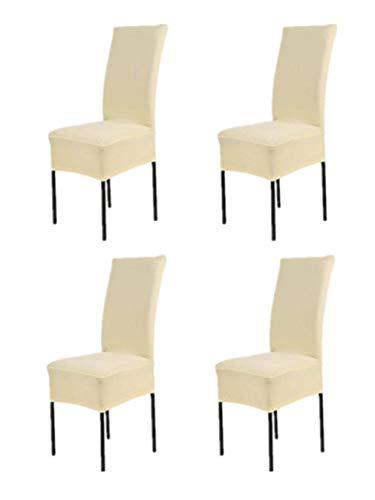 Hmwish 4 pezzi coprisedia con schienale, moderne universale coprisedie elasticizzato cucina salotto coprisedie sala da pranzo beige