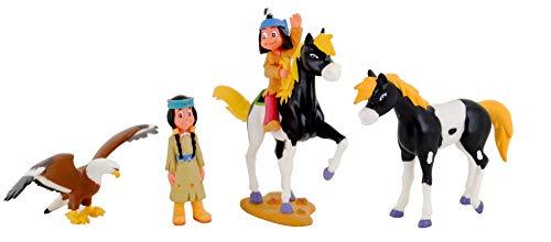 Yakari Spielfiguren 4er Set Kleiner Donner, Regenbogen und Großer Adler