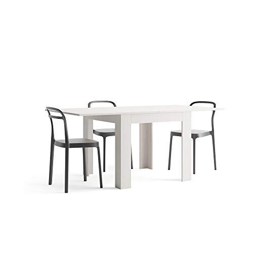 Mobili fiver eldorado, tavolo da pranzo, nobilitato, apertura a libro, frassino bianco, allungabile fino a 180 cm, chiuso  90 x 90 x 77 cm