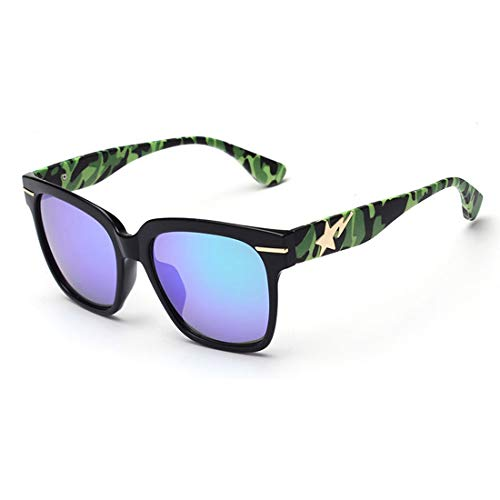 Camouflage Leg Full Frame Retro-Sonnenbrille für Frauen Männer UV-Schutz für die Fahrt im Freien. Brille (Farbe : Blau)