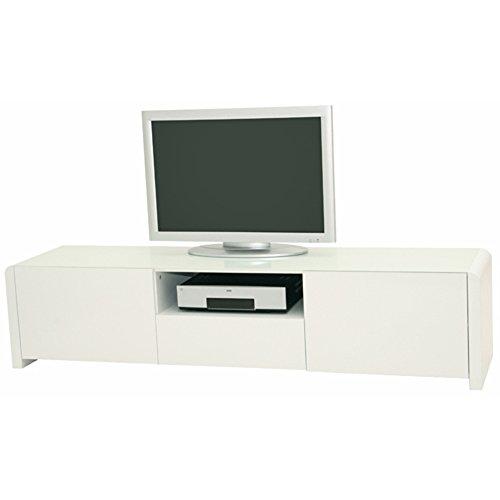 LEONARDO - Lowboard mit 2 Türen, 1 Schublade und 1 offenen Fach. Push-Open-Technologie in Weiss hochglanz