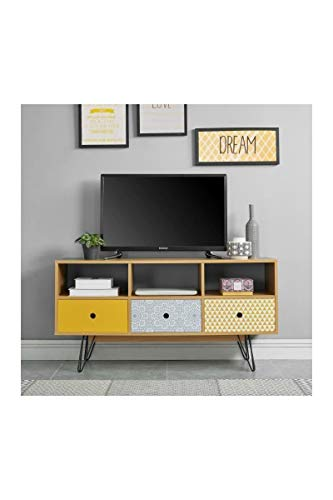 COLETTE Meuble TV vintage décor chene et imprimé + pieds métal laqué noir - L 120 cm
