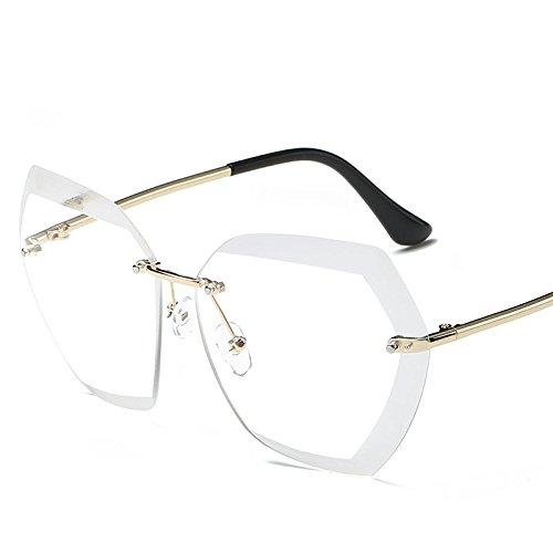 LLZTYJ Sonnenbrille/Rahmenlose Crystal Cut Gesicht Farbverlauf Sonnenbrille Frauen Sonnenbrillen...