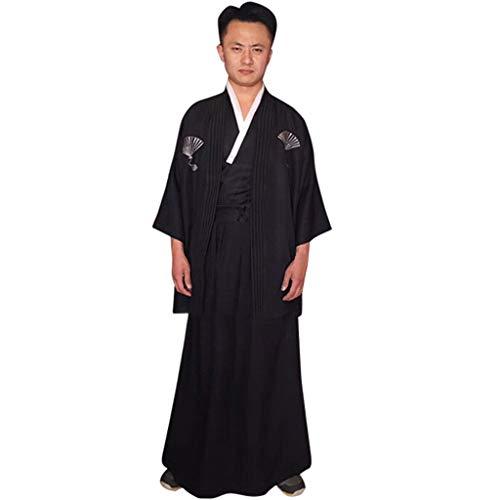 Mädchen Übergröße Krieger Kostüm - Setsail Herren Bequeme Robe japanische traditionelle Samurai Herren Kimono Krieger Robe Outfit Kostüm