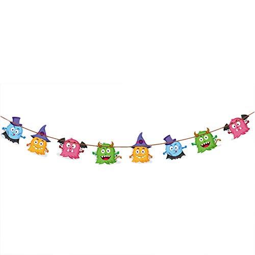 Lumanuby Bunt Halloween Flagge für Party/Einkaufszentrum Dekoration Oder Karneval Girlande aus Papier von Kürbis Geister Spinne Bild Size 3mX28.5X18.5cm (Kleines Monster)