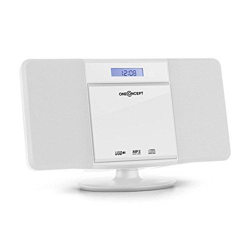oneConcept V-13 Stereoanlage Kompaktanlage Microanlage (UKW Radio, USB, MP3-Ordnernavigation, AUX-In, Fernbedienung, LCD-Display, Wecker, Sleeptimer, Wandmontage möglich) weiß