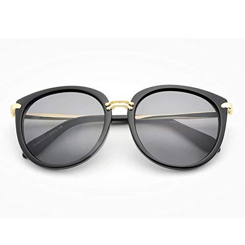 Yiph-Sunglass Sonnenbrillen Mode Cat Eye Mirrored Flache Sonnenbrille Linsen Metallrahmen Sonnenbrillen für Frauen (Farbe : Schwarz)
