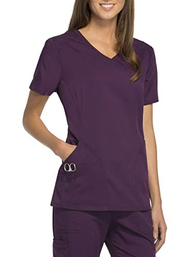 Smart Uniform Mock Wrap Top SM016 (L, Eggplant) -